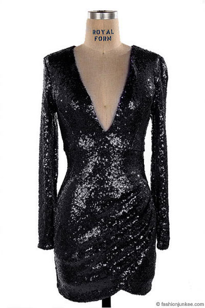 Sequin Long Sleeve Low Cut V Neck Mini Dress Black