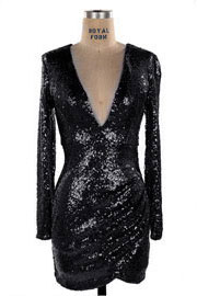 :As Seen In PEOPLE STYLEWATCH Magazine: PLUS SIZE Sequin Long Sleeve Low Cut V-Neck Mini Dress-Black