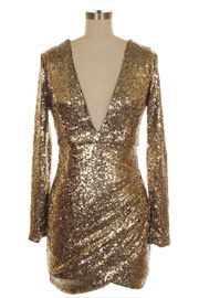 :As Seen In PEOPLE STYLEWATCH Magazine: Sequin Long Sleeve Low Cut V-Neck Day Mini Dress-Gold