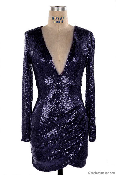 Sequin Long Sleeve Low Cut V Neck Mini Dress Navy Blue