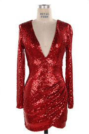 PLUS SIZE Sequin Long Sleeve Low Cut V-Neck Valentine's Day Dress-Red