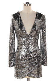 Sequin Long Sleeve Low Cut V-Neck Mini Dress-Silver