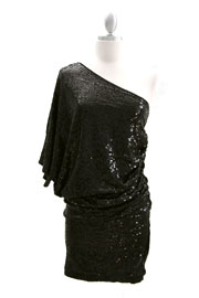 Sequin One Shoulder Mini Dress-Black