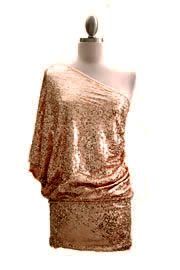 *FLASH SALE* Sequin One Shoulder Mini Dress-Bronze