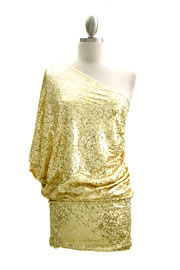 Sequin One Shoulder Mini Dress-Gold
