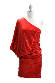 Sequin One Shoulder Mini Dress-Red