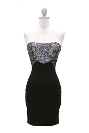 Strapless Sequin Mini Dress with Side Mesh Cutouts-Silver & Black