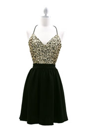 Sequin Sexy Backless Chiffon Dress-Gold & Black