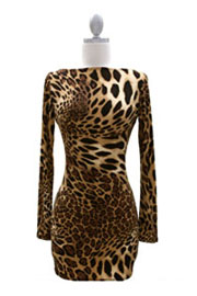 the SEXY BACK Dress - Boat Neck Long Sleeve Backless Mini-Leopard Print