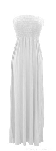 Jersey Smocked Long Tube Maxi Dress-Off White
