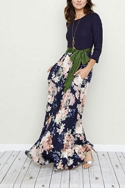 Long Sleeve Solid & Floral Maxi Dress with Sash and Pockets-Navy Blue & Olive