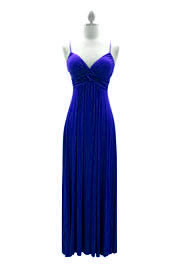 Jersey Spaghetti Strap Long Maxi Dress-Blue
