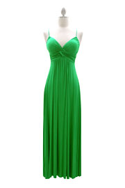Jersey Spaghetti Strap Long Maxi Dress-Green