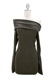 Knit/Sweater Folder Over Off the Shoulder Long Sleeve Mini Dress, Ribbed-Grey