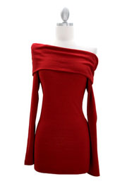 Knit/Sweater Folder Over Off the Shoulder Long Sleeve Mini Dress, Ribbed-Red