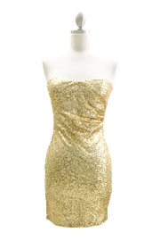 Strapless Sweetheart Sequin Mini Cocktail Evening Dress-Gold