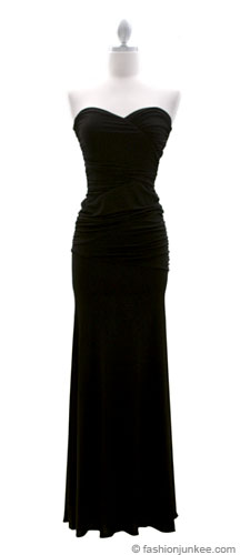 :As Seen in US WEEKLY: Sweetheart Shaped Strapless Full Length Long Evening Dress-Black