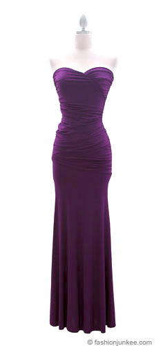:As Seen in US WEEKLY: Sweetheart Shaped Strapless Full Length Long Evening Dress-Purple