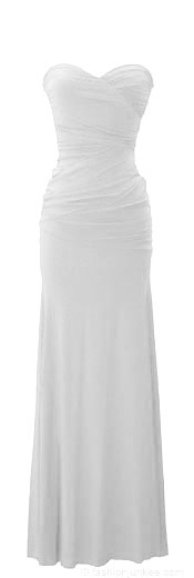 :As Seen in US WEEKLY: Sweetheart Shaped Strapless Full Length Long Evening Dress-White