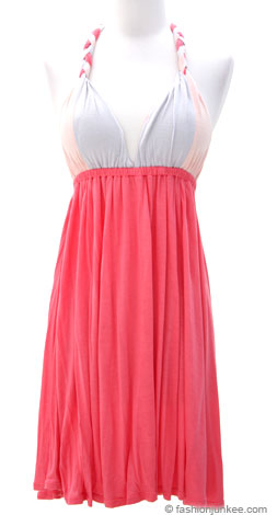 Jersey Tri Color Halter Thick Braided Summer Dress, Open Back-Coral from fashionjunkee.com