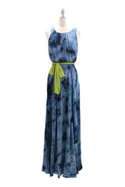 Tie Dye Belted Open Back Maxi Dress-Blue