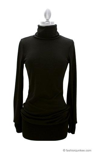 Long Sleeve Knit Turtleneck Sweater Mini Dress, Ribbed-Black