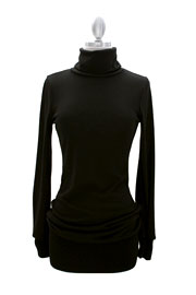Long Sleeve Knit Turtleneck Sweater Mini Dress, Ribbed-Black