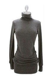 Long Sleeve Knit Turtleneck Sweater Mini Dress, Ribbed-Grey
