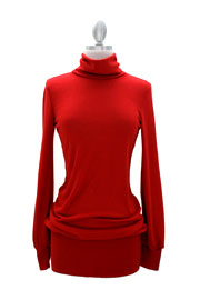 Long Sleeve Knit Turtleneck Sweater Mini Dress, Ribbed-Red