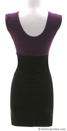 Two Tone Scoop Neck Mini Dress, Cap Sleeveless-Purple/Black