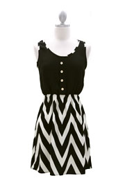 Two Tone Chevron Mini Dress with Buttons-Black & White