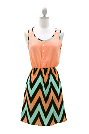 Two Tone Chevron Mini Dress with Buttons-Peach & Mint