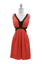 Two Tone Side Cut Out Backless Dress-Coral and Black