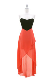 Strapless Sweetheart Two Tone Hi-Low Dress-Coral & Black