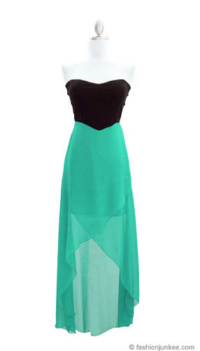 STRAPLESS SWEETHEART TWO TONE HI-LOW DRESS-MINT & BLACK on The Hunt