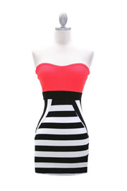 Color Block Two Tone Striped Sweetheart Mini Dress-Hot Pink, Black & White