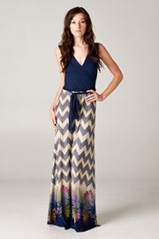 Plus Size Two Tone V-Neck Print Chevron Long Maxi Faux Wrap Dress-Navy Blue
