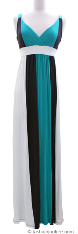 Jersey Vertical Color Block Long Maxi Dress-Blue Green, Grey & Off White