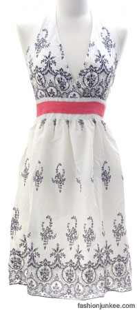 Cotton Graphic Print Romantic Vintage Halter Dress-Blue