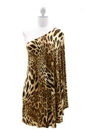 One Shoulder DRESS with Winged Kimono Slit Sleeves-Leopard Print