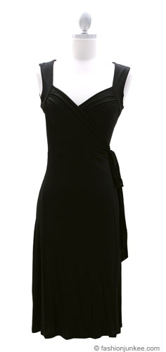 Jersey Short Sleeve True Wrap Dress, Side Tie-Black