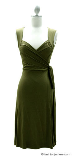 Jersey Short Sleeve True Wrap Dress, Side Tie-Olive