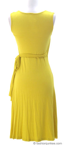 Jersey Short Sleeve True Wrap Dress, Side Tie-Yellow :  tie sleeveless sweetheart neckline wrap