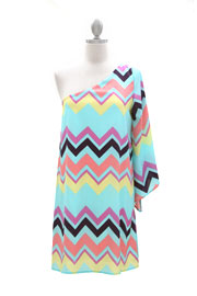 One Shoulder Kimono Sleeve Chevron Mini Dress-Aqua Blue