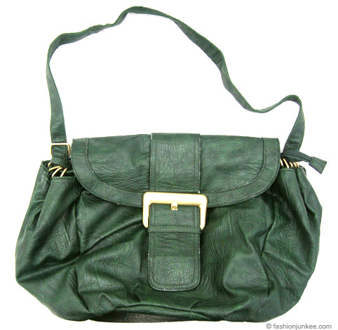 Large Buckle Front Convertible Handbag or Messenger Bag-Green :  messenger handbag purse large