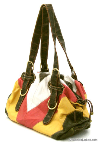 :Inspired by Coach: Vintage Distressed Chevron Hobo Purse-Yellow, White & Red