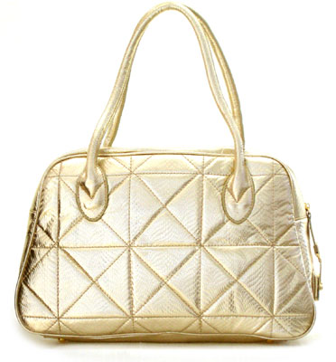 Patent Snake Skin Quilted Doctor's Duffle Bag-Gold :  doctors bag gold purse inspired by tod oversized purse