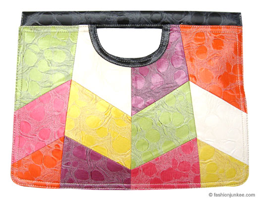 Large Oversized Flat Clutch, Embossed Water Texture-Multi Color :  flat zig zag bag oversized