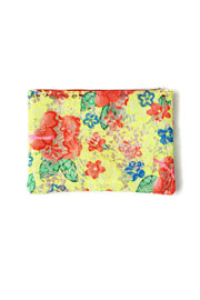 Bright Vintage Inspired Clear Lace Floral Spring Clutch-Yellow