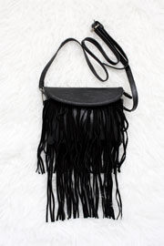 :As Seen In PEOPLE STYLEWATCH Magazine: Suede Small Fringe Messenger Bag Purse-Black